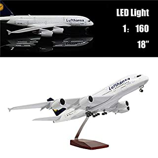 46cm Maßstab 1:130 Druckgegossenes Flugzeug Modell Lufthansa A380 mit LED-Licht Super Simulation Flugzeugmodell