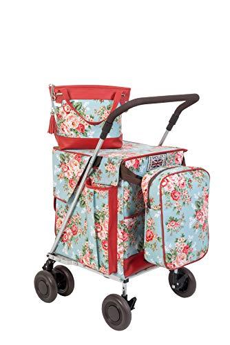 Einkaufswagen und Unterstützung für das Gehen durch Sholley, faltbar mit 4 Rädern, zusammenpassender Handtasche und Kühltasche und FREIE interner Trennungsbeutel.
