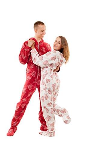 Schneeflocken und Herzen Kajamaz: Schlafanzug/ Schlafoverall/ Strampler mit Füßlingen für Erwachsene Weiß