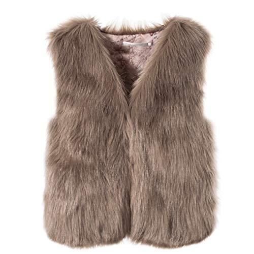 Pelzweste Damen UFODB Elegant Frauen Weste Jacke Fellweste Ärmellos Loose Winterjacke Faux Pelz Felljacke Winter Mantel Coat Streetwear Damenweste Oberteile