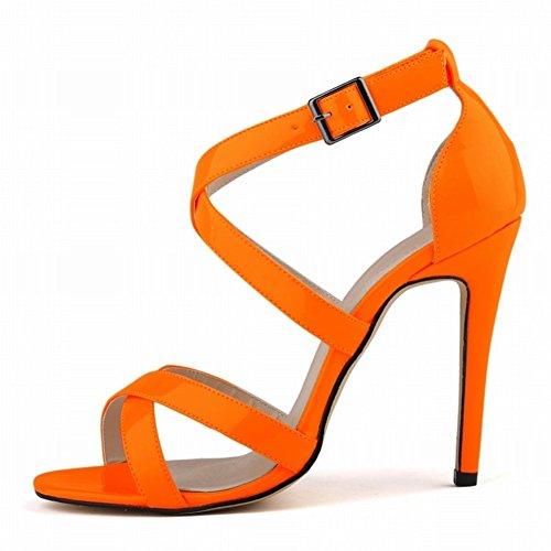 HooH Femmes Sexy Hollow Out Peep Toe Boucle Stiletto Escarpins Sandales Orange