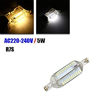 ADAALEN R7S 78MM Dimmable Corn Bulb 5W 76 SMD 4014 Pure White/Warm White Light Lamp AC 220V-240V