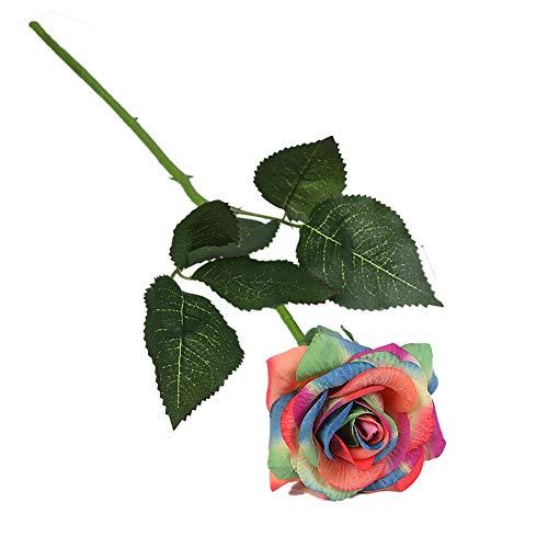 SUREH Künstliche Rosen, Seidenblumen, echte Haptik, Kunstblumen, Rosen, Brautstrauß für Hochzeit, Zuhause, Party, Dekoration, 10 Stück - bunt -