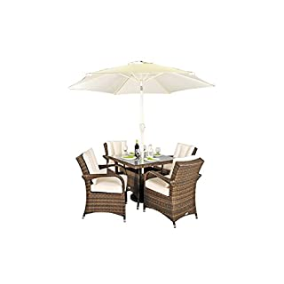 MODERN FURNITURE DIRECT Arizona Rattan Garden Furniture 4 Seat Square Glass Top Table Dining Set Free Parasol Base, Dust Cover, Cushions & 1 Yr Warranty