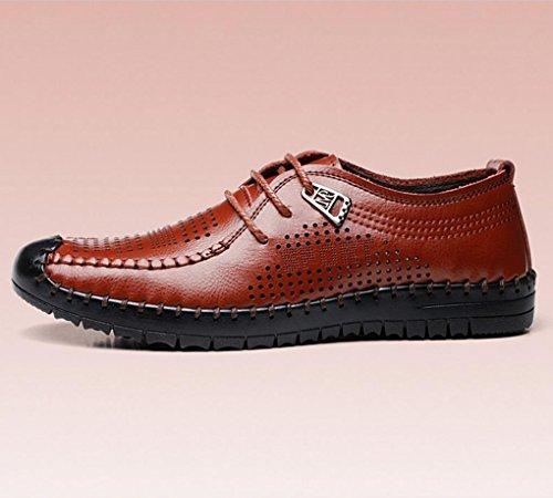 HYLM I pattini respirabili della cavità del cuoio di estate di calza i pattini casuali dei sandali degli uomini-cuoio di cuoio Brown