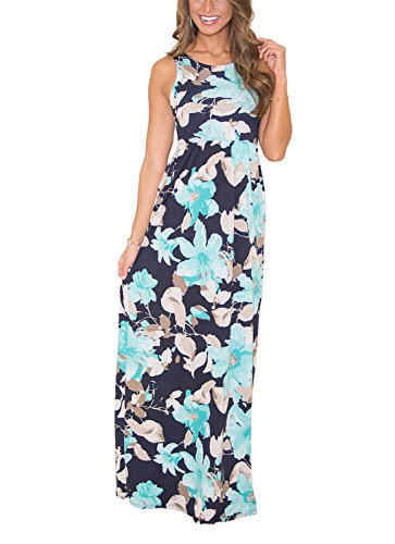 Sommerkleid Damen Partykleid Lang High Waist Schulterfrei Damen Kleider Sleeveless Beach Kleid Elegant (X-Large, 280-Hellblau)