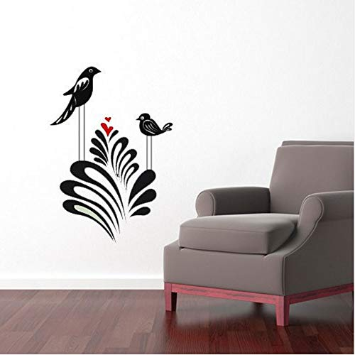 Knncch Whimsical Birds Nursery Art Vinyl Sticker Love, Branches, Heart, Bush, Plant Home Decor, Bedroom Decal, Diy -