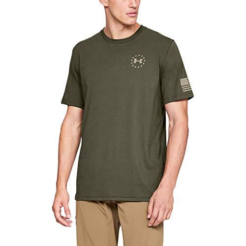 Under Armour Herren Men's Freedom Flag T-Shirt kurzärmelig, Marine Od Green (390)/Desert Sand, Medium -