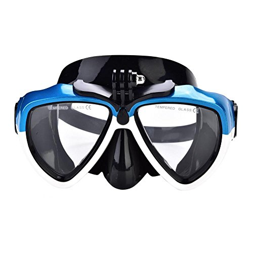 Tauchmaske Diving Goggle 2 Farben Shock Proof Gehärtetem Glas Wassersport Tauchausrüstung Schutzbrille mit Kamerahalterung(Weiß + Blau)