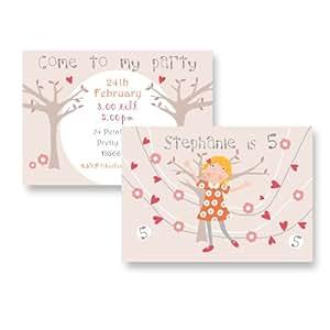 Occasions Direct-Biglietti di invito per feste di compleanno, confezione da 10 pezzi, consegna gratuita & buste, immagine di ragazza e fiori, n. 40)