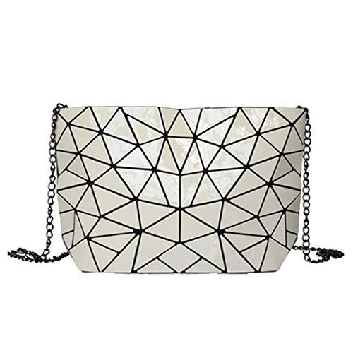 Sommer Handtasche Frauen Tasche Messenger Schultertasche Hologramm Clutch Tote Bag white1 -