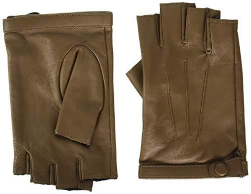 """YISEVEN Damen Fingerlose Schaffell Lederhandschuhe Halbfinger Autofahrer-Handschuhe Winter Leder, Taupe Klein/6.5\"""""""
