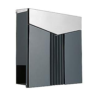 Bo te aux lettres design 222 ade gris anthracite ral7016 de caisse couvercle en acier - Boite aux lettres 2 portes gris anthracite ...