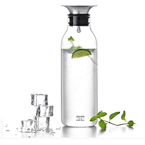LeOx- Caraffa 900 ml Vetro Borosilicato & Acciaio inossidabile Bottiglia con Coperchio Vetro Acqua Caraffa Cristallo Refrigerante