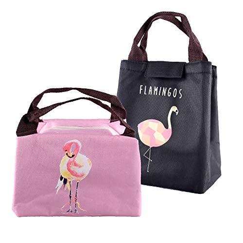 2 pezzi borsa termica plegable porta borsa frigo pranzo piccola scuola picnic ufficio alimenti (rosa+nero)