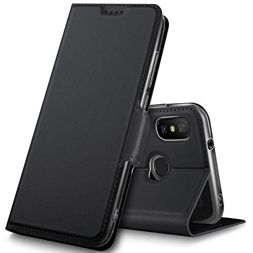 Geemai Xiaomi Redmi Note 6 Pro Funda, Slim Case Protectora PU Funda Multi-ángulo a Prueba de Golpes y Polvo a Prueba de Silicona con Soporte Plegable para Xiaomi Redmi Note 6 Pro.(Negro)