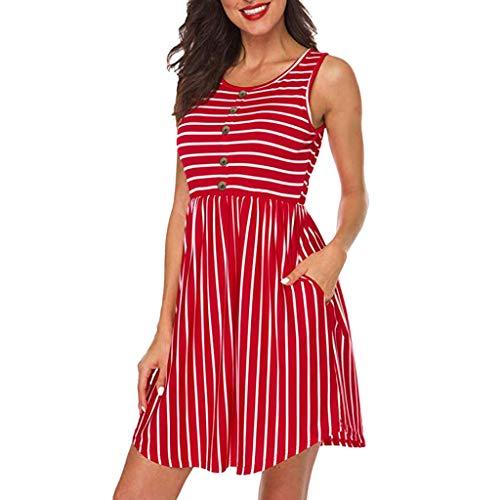 Markthym Ärmelloses Damen-Minikleid mit Rundhalsausschnitt und gestreiftem Frontknopf und Taschen Ärmelloser gestreifter Damenknopf mit Taschenkleid -