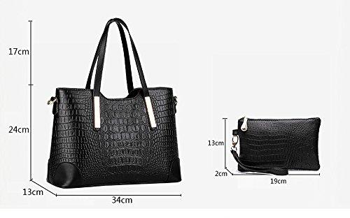 EssVita Tasche Damen Elegant Leder Handtaschen Set Schulter Beuteltote Schultaschen Blau Schwarz