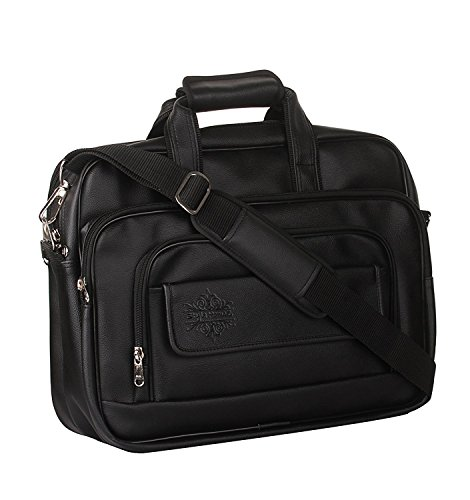 Style Homez Spacious Classic Retro Laptop Bag 15.6″, Adjustable Strap and 6 Compartments,Metal Black Color