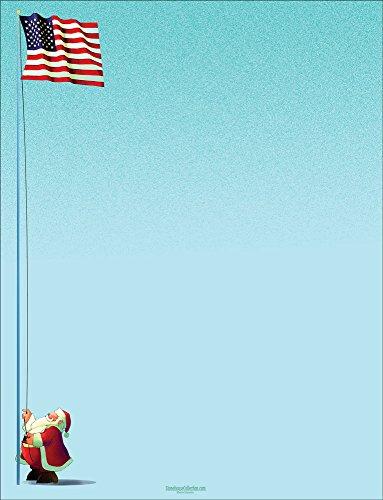 Urlaub Stationery-Schneemann Joy.-8,5x 11-80Fun Briefkopf Blatt US-Flagge (Stationären Papier Drucker)