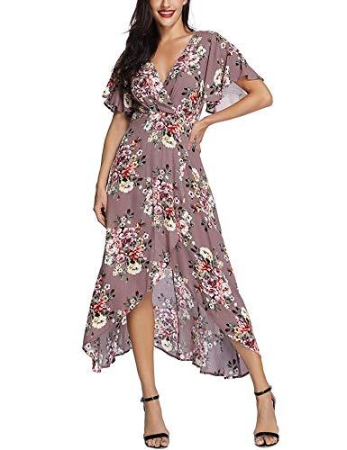 Lange Tanz-Rock-Weiß-Verpackungs-Maxikleid Short Sleeve V-Ausschnitt Blumen Flowy Frontseiten-Schlitz High Low Frauen-Sommer-Strand (Trägerlosen Kleid Nähen Muster)