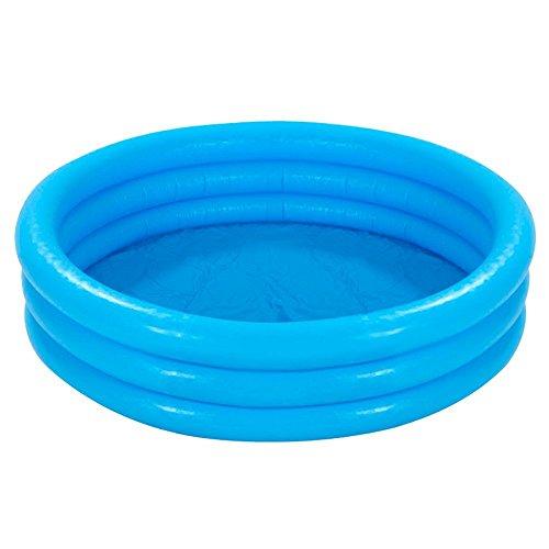 com-four® Planschbecken für Kinder, 3-Ring Kinderpool in blau mit Reparaturflicken, 114x25cm, ca. 132 Liter
