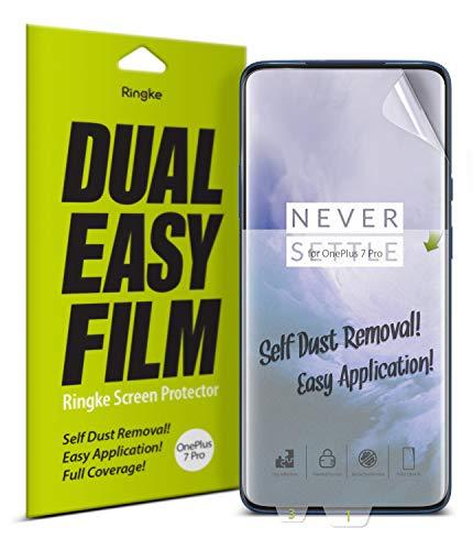 Ringke Dual Easy Film [2 Stück] Kompatibel mit OnePlus 7 Pro Schutzfolie Hohe Auflösung [Wischfest Beschichtung] Einfache Befestigen [Hülle Kompatibel] OnePlus 7 Pro (2019) Bildschirmschutz Folie