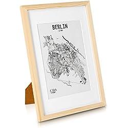 Solida Cornice in Legno per Poster A3 – Passepartout per Foto A4 Incluso – Larghezza della cornice 2cm! - Marrone Naturale