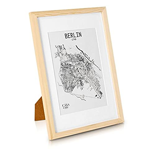 Echtholz Bilderrahmen A3 - Holz Natur - DIN A3 Bilderrahmen mit A4 Passepartout und Plexiglasscheibe - Poster-Holzbilderrahmen - Rahmenbreite 2cm!