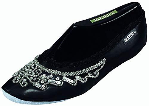 Bleyer Pailettenbestickte Bauchtanzschuhe, Gymnastikschuhe orientalischer Tanz-Schuhe, schwarz-Silber (39)