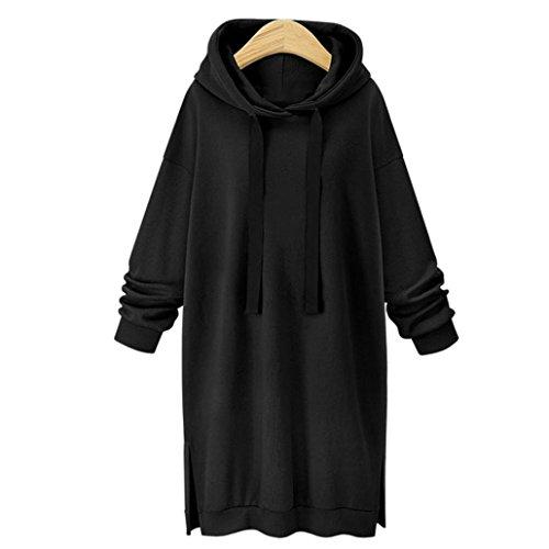 Longra Damen Mode Hoodie Kleid Blusenkleider Kapuzenpullover Frauen Langarm Herbst Winter Oversize Sport Casua Freizeitkleid Sweatshirt Pulli Kleid mit Tasche (XL, Black) (Pullover Vintage Kapuzen)