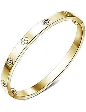 findout Damen 14K Roségold vergoldet Titan Stahl Ewigkeit Ring Armband, Frauen Mädchen, (f1393)