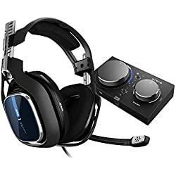 Astro Gaming A40 TR Casque Gamer Filaire + MixAmp Pro TR, Génération 4, 7.1 Son Dolby Surround, ASTRO Audio V2, Jack Audio 3,5 mm, Micro Interchangeable, Speaker Tags, PC/Mac/PS4 - Noir/Bleu
