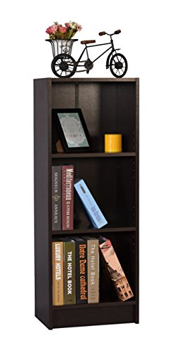 DeckUp Lexis Engineered Wood 3-Shelf Matte Finish Bookcase and Storage Unit (Dark Wenge)