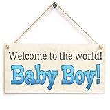 Shunry Welcome to The World Baby Boy Wandbehang Plakette Zeichen Holzschild Dekor Rustikale Dekorationen Bad Schlafzimmer Toilette Hotel Begrüßungsbar