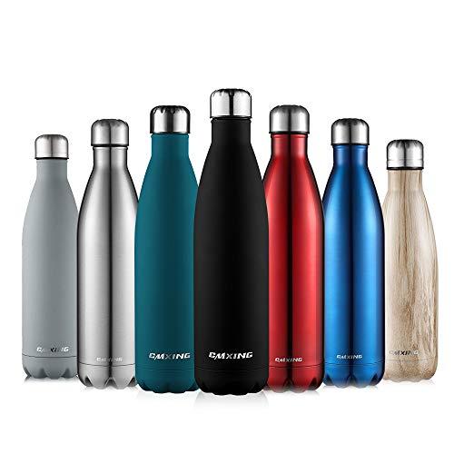 CMXING Doppelwandige Thermosflasche 500 mL / 750 mL mit Tasche BPA-Frei Edelstahl Trinkflasche Vakuum Isolierflasche (schwarz, 750 mL)