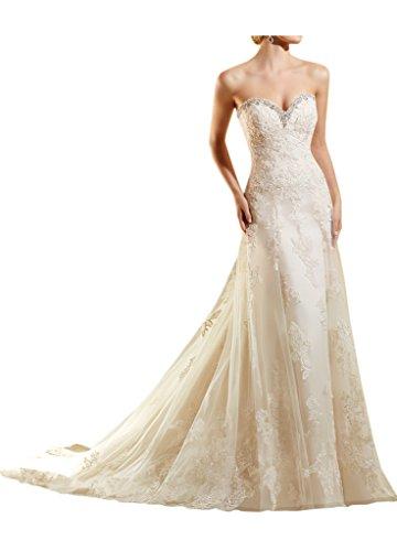 La_Marie Braut Elfenbein Spitze Steine Herzausschnitt Hochzeitskleider Brautkleider Brautmode meerjungfrau Lang Elfenbein
