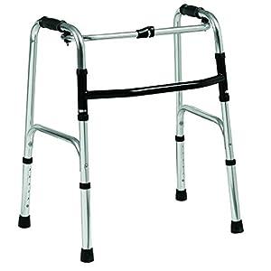 Folding lightweight aluminium walking zimmer frame walker - adjustable height