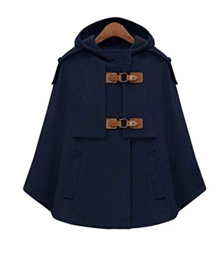 LaoZan Damen Faux Wolle Mantel Jacken Poncho Cape mit Kapuze Wollmantel Jacke XL Navy