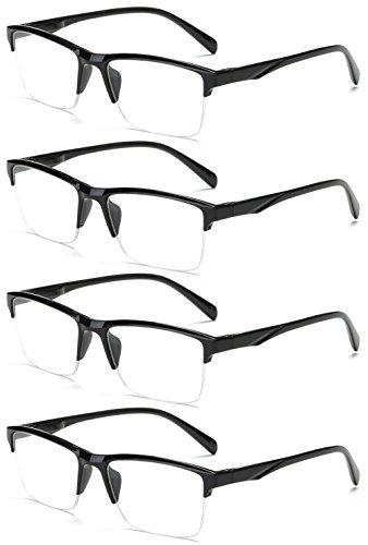 VEVESMUNDO Lesebrille Herren Damen Modern Halbrahmen Lesehilfe Sehhilfen Halbrand Schwarz Brillen 0 0,25 0,5 0,75 1,0 1,25 1,5 1,75 2,0 2,25 2,5 2,75 3,0 3,25 3,5 3,75 4,0 (4 Stück Lesebrillen, 0.25)
