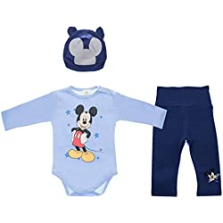 Mickey Mouse 3teiliges Baby Set Size 80, Farbe Blau