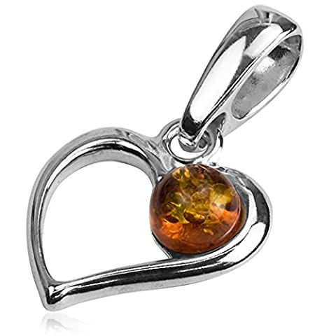 Baltic Amber and Sterling Silver Heart Pendant