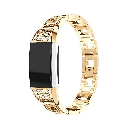 Fitbit Charge 2 Armband, iHee 2017 Neue Mode Vertraglicher Design Stil Edelstahl Uhren Armband Armband für Fitbit charge 2 (Gold)