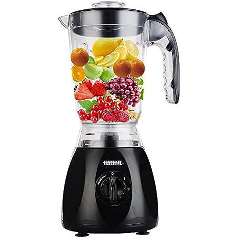Haehne HN-3366 2-IN-1 Nutrición Fruta Blender - 1.5L 350W Jarra de Plástico con la Fabricación Molino Grinder Multi Sopa de Alimentos - Negro