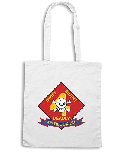 T-Shirtshock - Borsa Shopping TM0349 4th Recon Battalion USMC usa Bianco