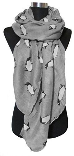 - 41JouYnST9L - Grey Unusual Cute Penguin Print Lightweight Scarf