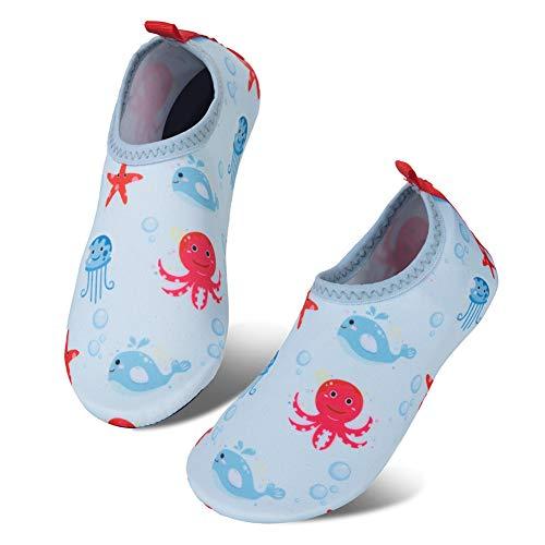 IceUnicorn Kinder Strandschuhe Jungen Mädchen Schwimmschuhe Aqua Schuhe Baby Badeschuhe für Beach Pool Surfen Yoga Unisex(XZY-Blau 22/23EU)