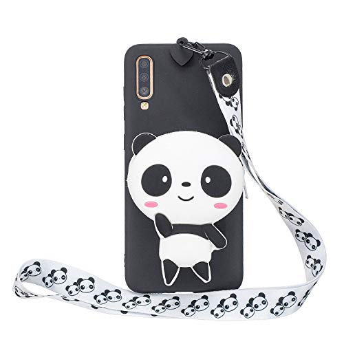 Miagon Silikon Hülle für Samsung Galaxy A70,3D Süß Brieftasche Lager Tasche Design mit Halskette Kordel Schnur Handykette Necklace Band,Panda