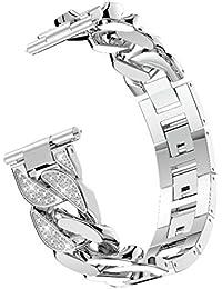KPILP Unisex Women Men Single Row Cowboy Diamond Rhinestone Alloy Watch Band Wrist Strap for Fitbit Versa Lite