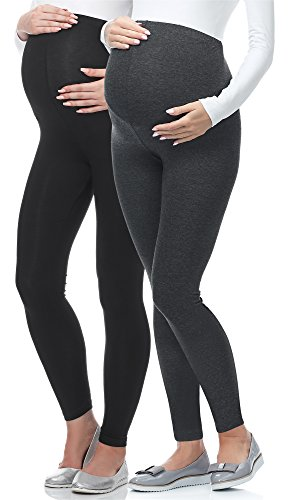 Be Mammy Lange Umstandsleggings BE-02 2er Pack (Schwarz/Dunkelmelange, M)